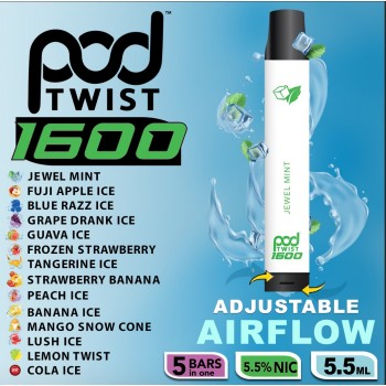 Pod Twist 1600 Disposable 5.5% by Pod Juice Adjustable Airflow